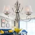 Lustre Moderne en Fer avec Abat-jour en Tissu à 3 Lumières (HKP31269-3)