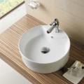 Decoraport Lavabo-Vasque Rond de Dessus de Comptoir en Céramique Blanche (CL-1033)