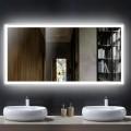 Decoraport 55 x 28 Po Miroir de Salle de Bain LED avec Bouton Tactile, Anti-Buée, Luminosité Réglable, Montage Vertical & Horizontal (N031-5528-TS)