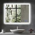 Decoraport 36 x 28 Po Miroir de Salle de Bain LED avec Bouton Tactile, Anti-Buée, Luminosité Réglable, Montage Vertical & Horizontal (N031-3628-TS)