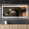 DECORAPORT 84 x 40  Po Miroir de Salle de Bain LED/Miroir Chambre avec Bouton Tactile, Anti-Buée, Luminosité Réglable, Bluetooth, Montage Vertical & Horizontal (D223-8440A)