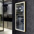 DECORAPORT 48 x 20 Po Miroir Chambre LED Pleine Longueur avec Bouton Tactile, Dorée de Luxe Légère, Luminosité Réglable, Lumière Froid & Chaud (D1805-4820)