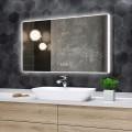 DECORAPORT 48 x 28 Po Miroir de Salle de Bain LED avec Bouton Tactile, Haut-Parleur Bluetooth, Lumières Tricolores, Anti-Buée, Luminosité Réglable, Montage Vertical (D415-4828AB)