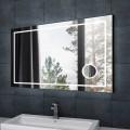 DECORAPORT 55 x 36 Po Miroir de Salle de Bain LED/Miroir Chambre avec Bouton Tactile, Loupe, Anti-Buée, Luminosité Réglable, Bluetooth, Montage Vertical & Horizontal (D623-5536AC)