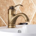 Decoraport Robinet de Lavabo&Vasque - Simple Trou Double Levier - Laiton Fini Bronze Antique (A004)