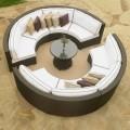 9-Pièce Salon de Jardin en Rotin avec Coussin: 8 Canapés Lunulaires sans Accoudoir, Table Basse (LLS-356)