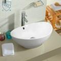Lavabo-Vasque de Dessus de Comptoir en Céramique Blanche (DK-LSE-8035)