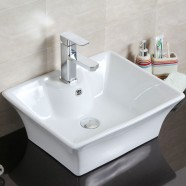 Decoraport Lavabo-Vasque Rectangle de Dessus de Comptoir en Céramique Blanche (CL-1097)