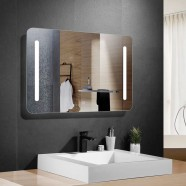 36 x 28 po miroir de salle de bain LED horizontal avec bouton tactile (DK-OD-N027)