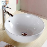 Decoraport Lavabo-Vasque Rond de Dessus de Comptoir en Céramique Blanche (CL-1027)