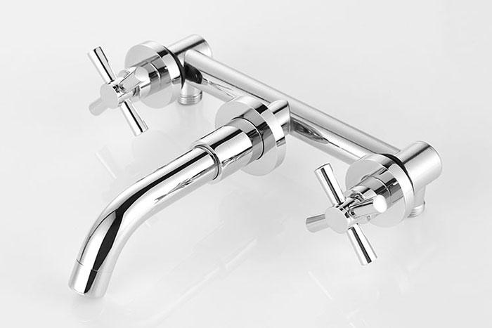 robinet fix au mur de lavabo vasque trois trous double levier laiton fini chrome 8830b. Black Bedroom Furniture Sets. Home Design Ideas