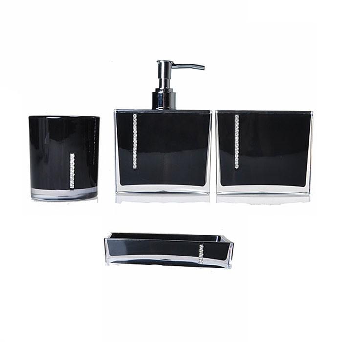 Set 4 accessoires salle de bain rouge dk st023 decoraport canada - Set accessoires salle de bain ...