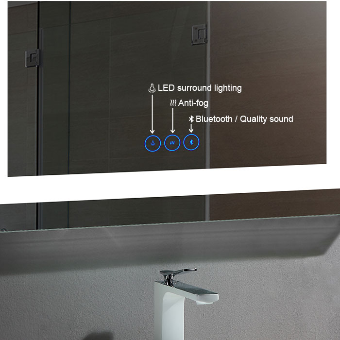 Led Lighted Mirror With Antifog Bluetooth Bathroom Vanity
