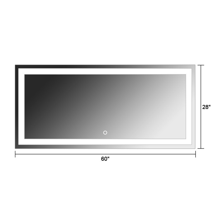 60 x 28 po miroir led salle de bain horizontal avec l. Black Bedroom Furniture Sets. Home Design Ideas