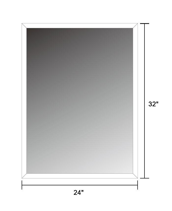 24 x 32 po miroir argent sans cadre de salle de bain bord biseaut et accrochage horizontal. Black Bedroom Furniture Sets. Home Design Ideas