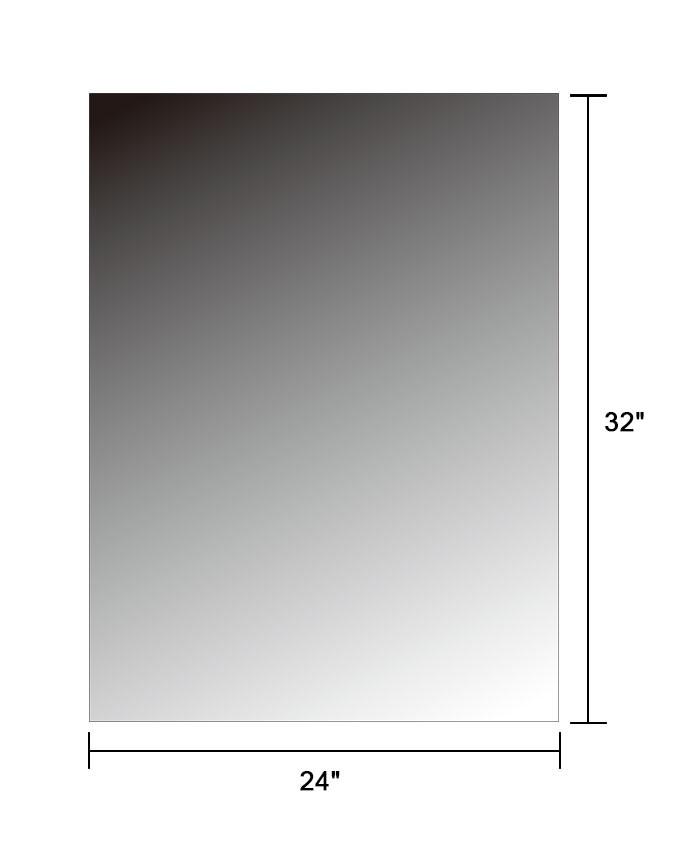 24 x 32 po miroir argent sans cadre de salle de bain for Miroir sans reflet