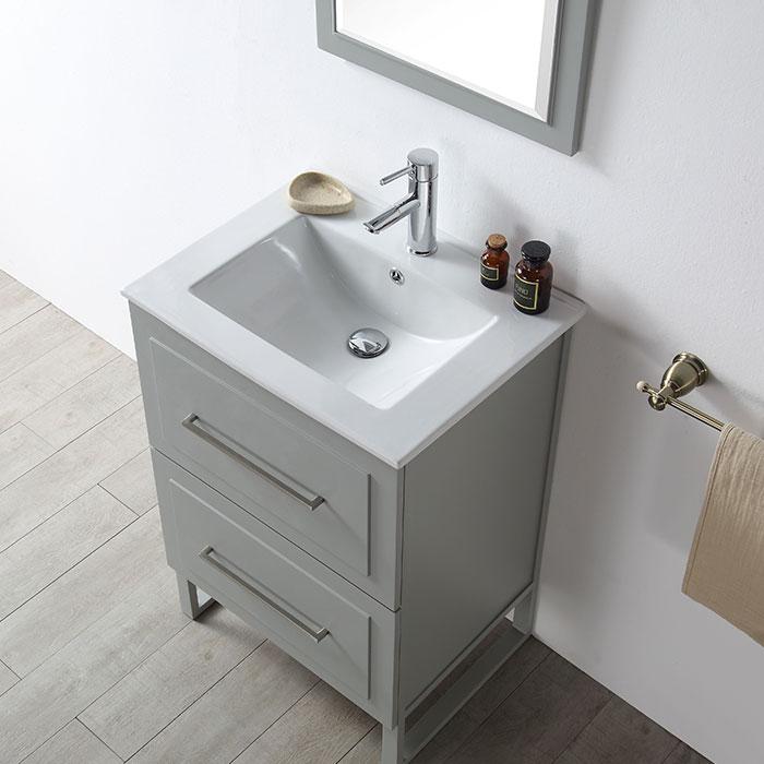 24 po Meuble Salle de Bain Vanité Sur Pieds  Lavabo Simple sans