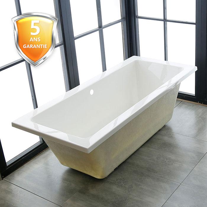 60 po baignoire encastrable blanche en acrylique de salle for Hauteur baignoire encastrable