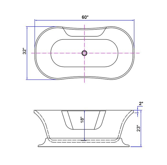 60 po baignoire autoportante acrylique en noir dk for Baignoire largeur 60