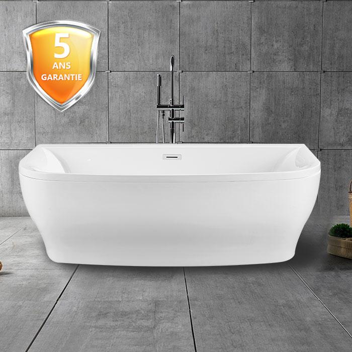 65 po baignoire autoportante contre un mur en acrylique avec drain dk 1705 decoraport canada. Black Bedroom Furniture Sets. Home Design Ideas