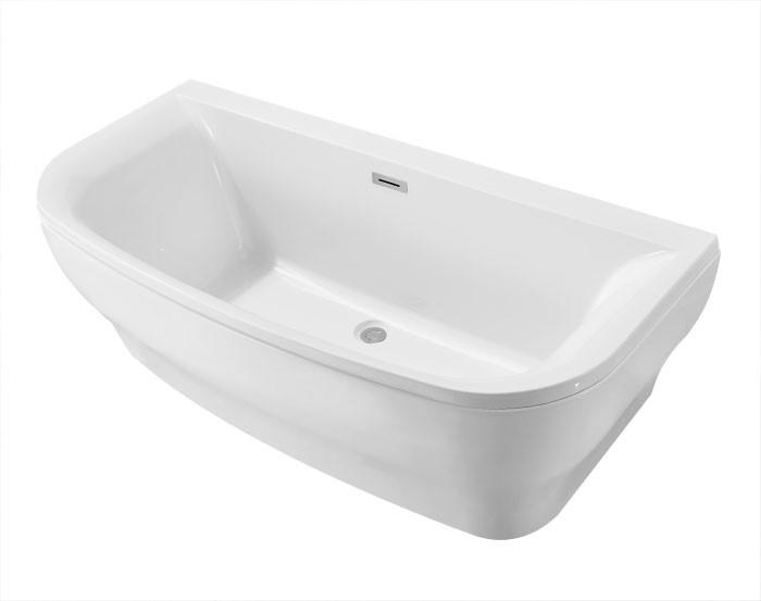 65 po baignoire autoportante contre un mur en acrylique. Black Bedroom Furniture Sets. Home Design Ideas
