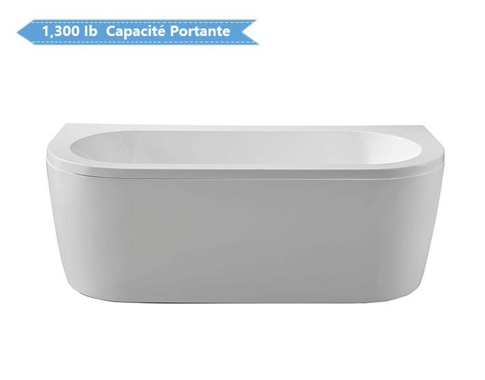 67 po baignoire autoportante contre un mur en acrylique avec drain dk cv1701 decoraport canada. Black Bedroom Furniture Sets. Home Design Ideas