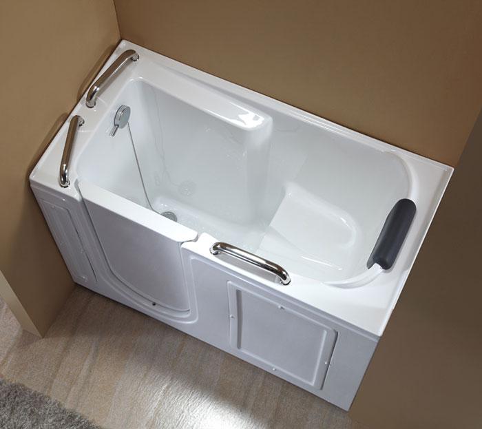 53 x 26 in walk in soaking bathtub acrylic white with for Walk in tub water capacity