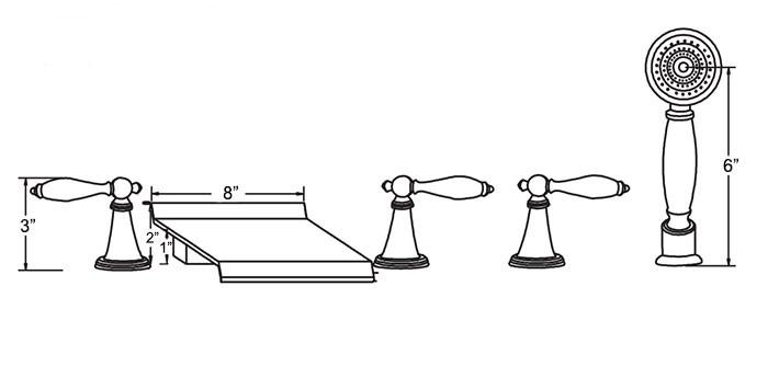 robinet cascade baignoire trois poign es de sdb avec douchette main laiton fini chrome. Black Bedroom Furniture Sets. Home Design Ideas