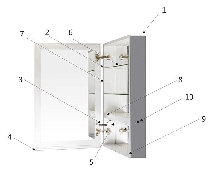 Led Lighted Mirror Cabinet With Infrared Sensor Vertical