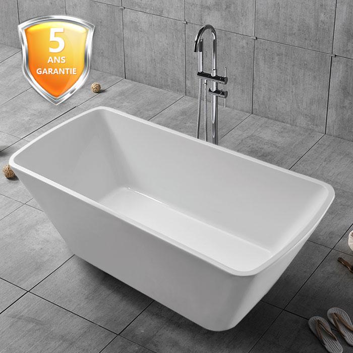 68 po baignoire autoportante blanche en acrylique sans for Plomberie salle de bain sans soudure