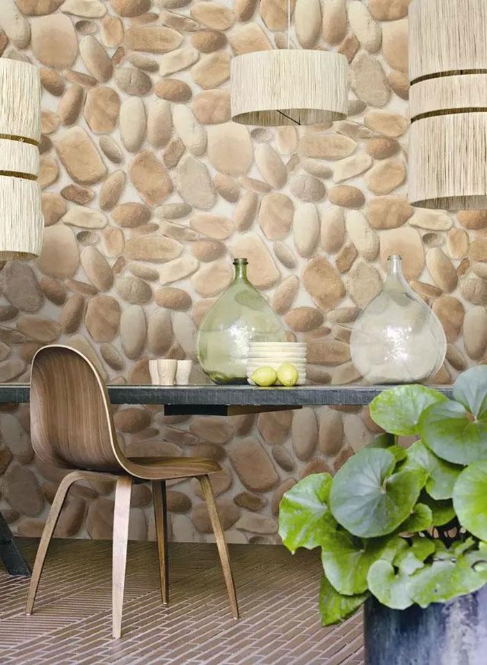 papier peint pvc en galet imitation effet 3d dk. Black Bedroom Furniture Sets. Home Design Ideas