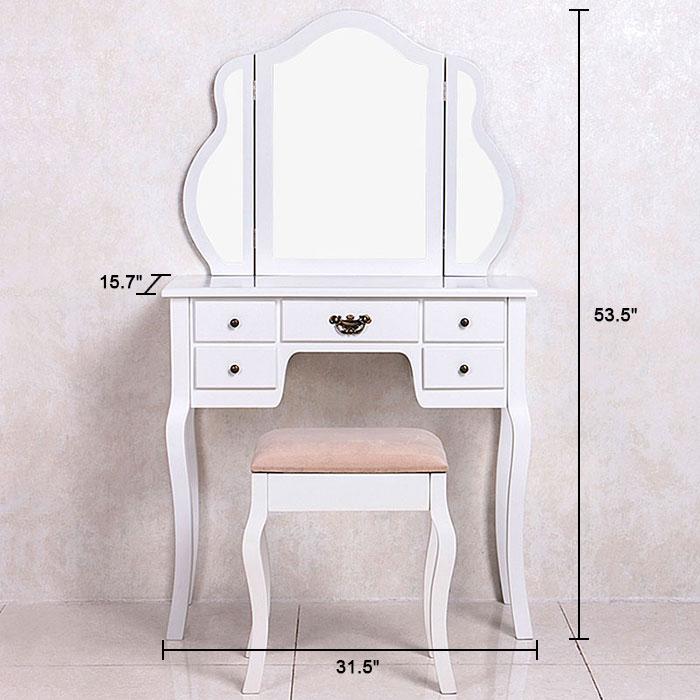 Bedroom makeup vanity set with mirror and stool ji3144 for Bedroom vanity canada
