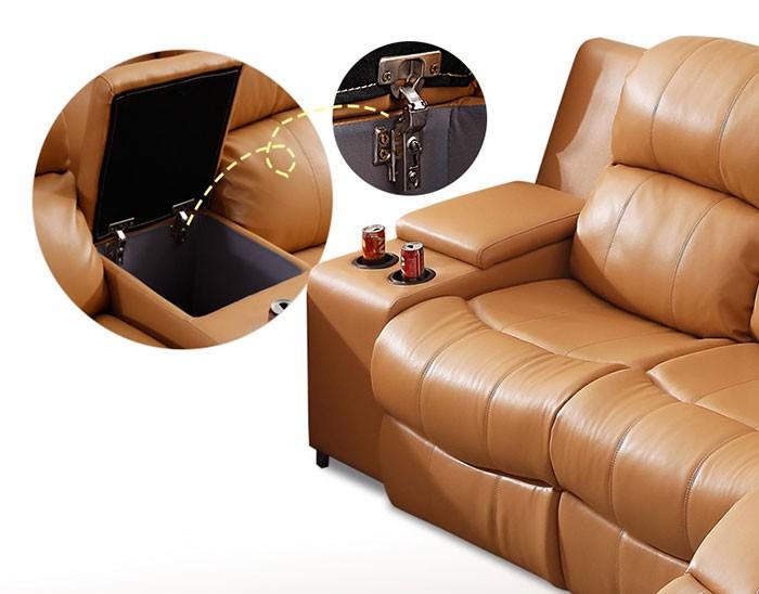 Dark Beige Manual Recliner Sectional Sofa in Genuine ...