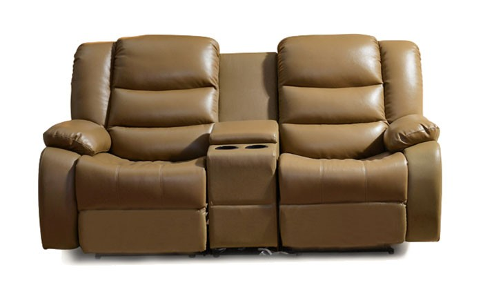 Light Brown Manual Reclining Loveseat In Leather Lh 189