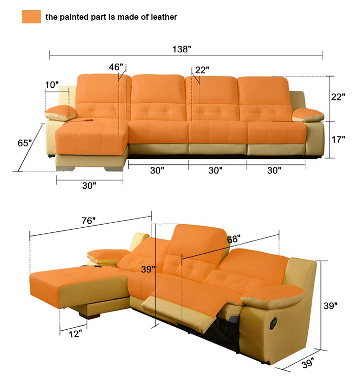 Genuine Leather Sectional Sofa Canada: Beige Power-driven Recliner Sectional Sofa In Genuine