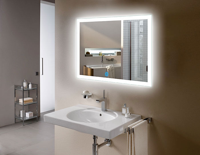 led bathroom wall mirror illuminated lighted vanity mirror with touch button ebay. Black Bedroom Furniture Sets. Home Design Ideas