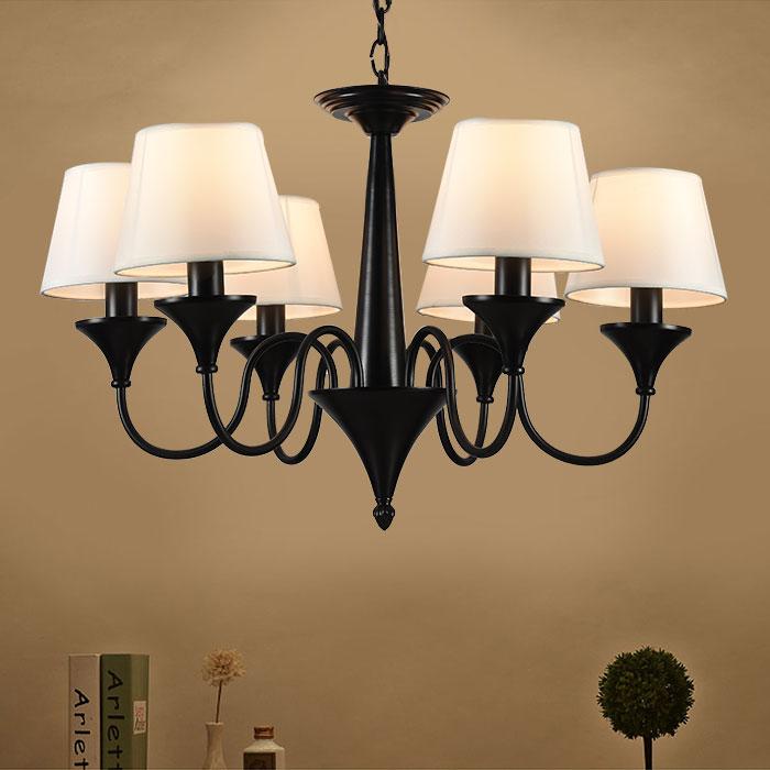 lustre en fer forg avec abat jour en tissu 6 ampoules noir dk 2012 6 decoraport canada. Black Bedroom Furniture Sets. Home Design Ideas