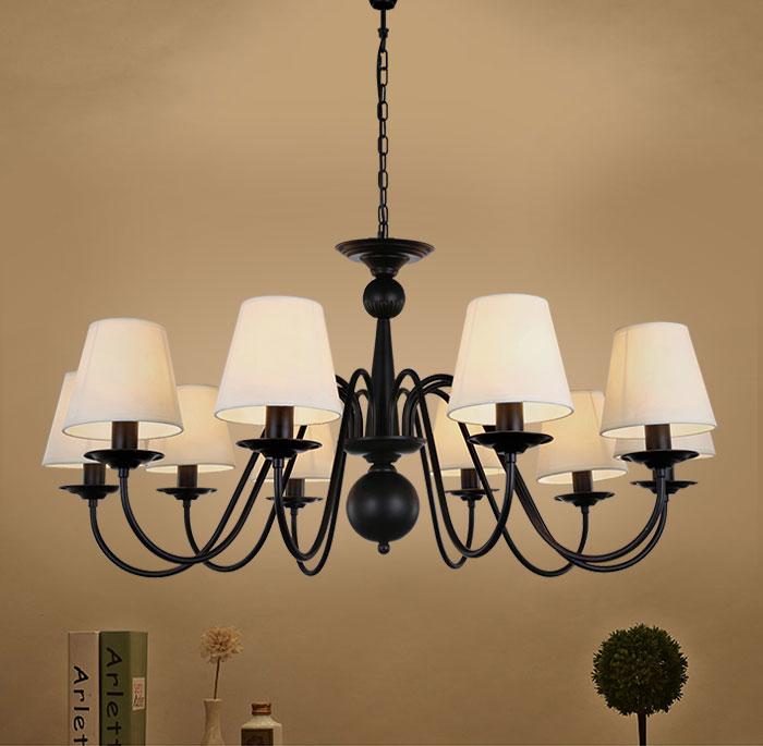 lustre en fer forg avec abat jour en tissu 10 ampoules. Black Bedroom Furniture Sets. Home Design Ideas