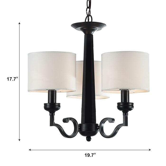 lustre en fer forg avec abat jour en tissu 3 ampoules. Black Bedroom Furniture Sets. Home Design Ideas