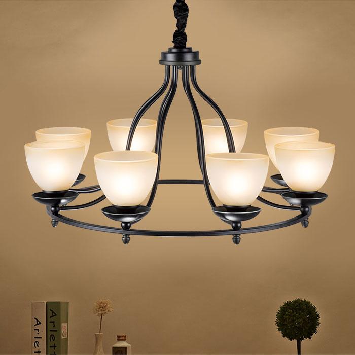 lustre en fer forg avec abat jour en verre 6 ampoules noir dk 2037 6 decoraport canada. Black Bedroom Furniture Sets. Home Design Ideas