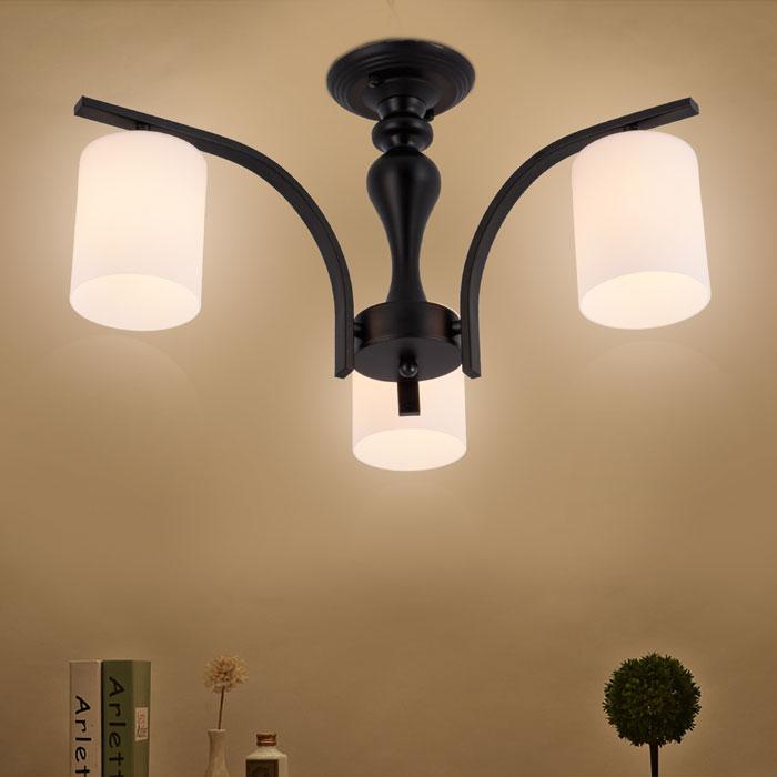lustre en fer forg avec abat jour en verre 3 ampoules noir dk 5302 3 decoraport canada. Black Bedroom Furniture Sets. Home Design Ideas