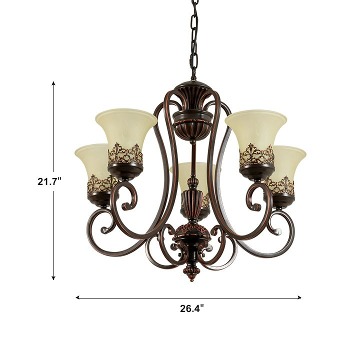lustre en fer forg avec abat jour en verre 5 ampoules. Black Bedroom Furniture Sets. Home Design Ideas