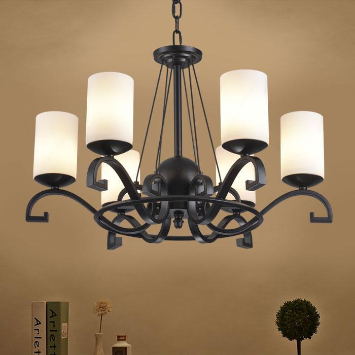 lustre en fer forg avec abat jour en verre 8 ampoules noir dk 8020 6 decoraport canada. Black Bedroom Furniture Sets. Home Design Ideas
