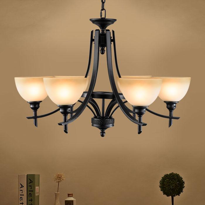lustre en fer forg avec abat jour en verre 6 ampoules noir dk 8034 6 decoraport canada. Black Bedroom Furniture Sets. Home Design Ideas