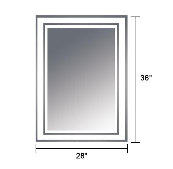 28 x 36 po miroir vertical argent led salle de bains avec for Miroir hauteur 160