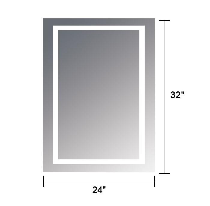 24 x 32 po miroir vertical argent led salle de bains avec interrupteur tactile dk od ck168 - Interrupteur miroir salle de bain ...