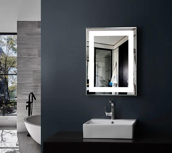 28 x 36 po miroir vertical argent led salle de bains avec interrupteur tactile dk od ck168 i - Miroir salle de bain led ...
