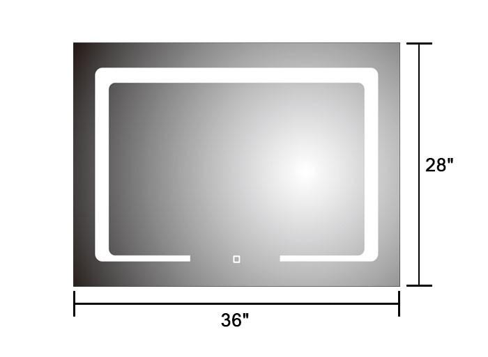 28 x 36 po miroir horizontal argent led salle de bains avec interrupteur tactile dk od cl129 - Interrupteur miroir salle de bain ...