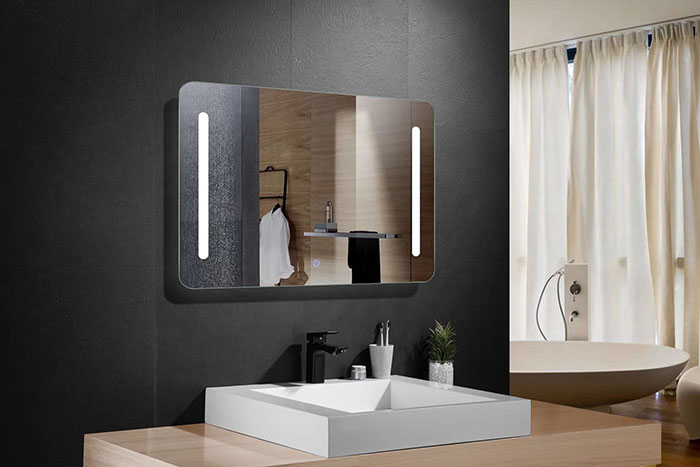 28 x 36 po miroir horizontal argent led salle de bains avec interrupteur tactile dk od n027. Black Bedroom Furniture Sets. Home Design Ideas