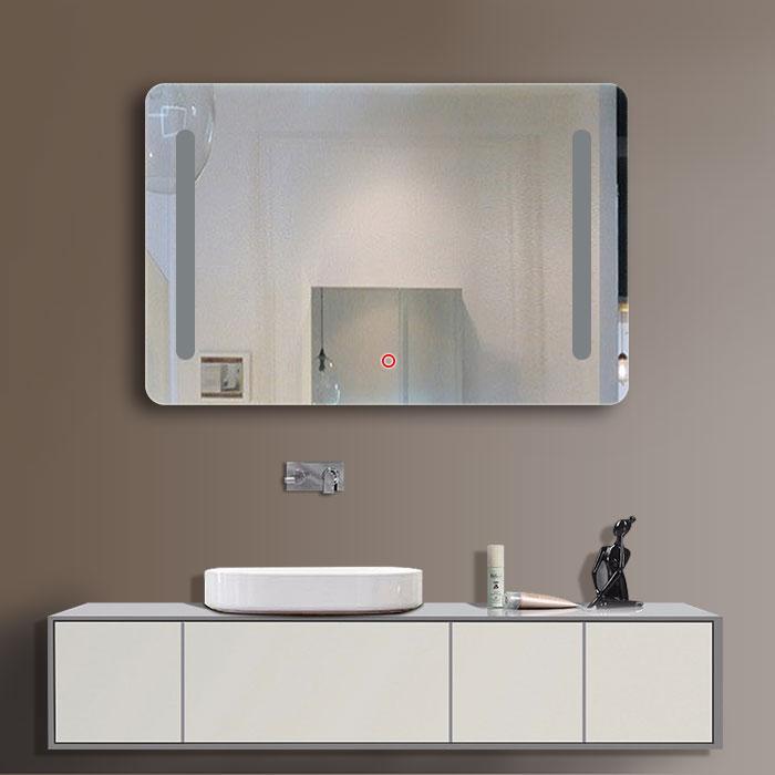 28 x 36 po miroir horizontal argent led salle de bains avec interrupteur tactile dk od n027. Black Bedroom Furniture Sets. Home Design Ideas